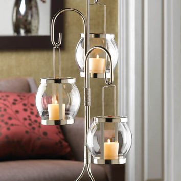 Hanging Glass Globes Candle Holder