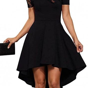 Black Short Sleeve High Low Cocktail Skater Dress