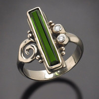 One of a Kind 14Kt White Gold Green Tourmaline Ring