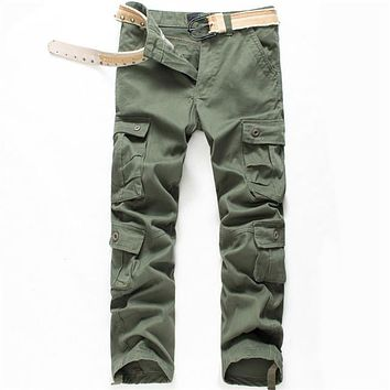 New Brand High Quality Spring Style Mens Khaki Cargo Pants Casual Pants Men Joggers Pants Cotton Long Trousers