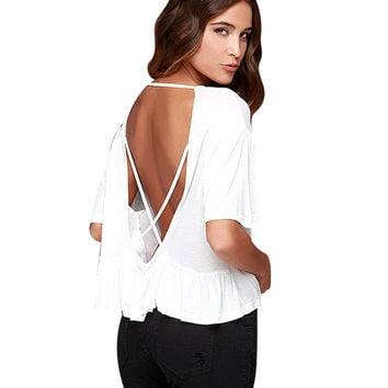 White Crazy Print Backless Top