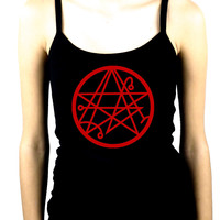 Necronomicon Gate Alchemy Symbol Women's Spaghetti Strap Shirt Occult Clothing HP Lovecraft