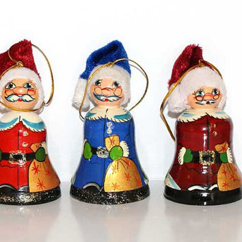 Russian Christmas ornaments Santa set of 2 pcs hand made ornament santa decorative collectible ornament Father Frost Russian Christmas gift