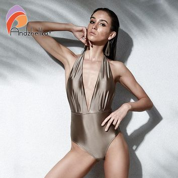 Andzhelika Women New One Piece Sexy Halter Swimsuits  Brazilian Vintage Swimwear Summer Bodysuit Two ways to wear Bathing Suit