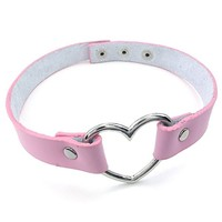 Womens Leather Choker Necklace, Grils Punk Goth Emo Heart Collar Choker Chain, Pink Silver