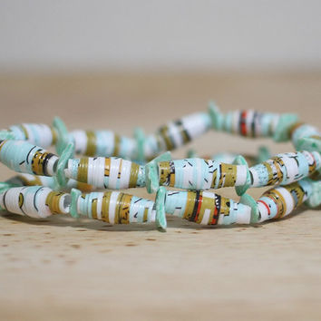 Bright Teal Recycled Paper Bead Bracelet Set Made From Book Pages
