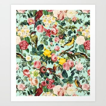 Floral and Birds III Art Print by burcukorkmazyurek