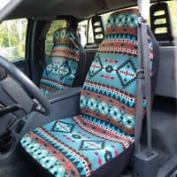 1 Set Of Sioux-Spirit Turquois Print Seat Covers and the  Steering Wheel Cover Custom Made Car Seat Covers,