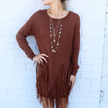 Boho Breeze Camel Long Sleeve Sweater Dress With Fringe Details