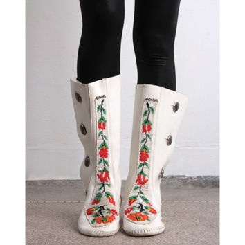 Beaded Leather Boots 60s Vintage White Knee High Leather Moccasins