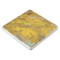 Yellow autumn maple leaves. Add you text or name. Stone Coaster