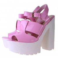 Pink High Heel Shoes | Cleated Platform Heels | Platform Sandals