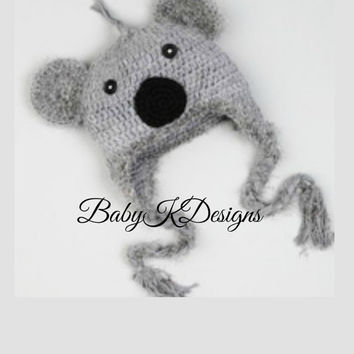SAVE 15% Crochet Gray KOALA BEAR Boy Girl Beanie hat. Knitted Wi 443fc71b0ba1