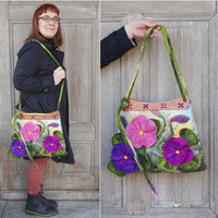 Designer felted bag, large felt handbag, shoulder bag with pocket, bohemian fashion, 3D spring  flowers, wooden handcrafted handles, OOAK
