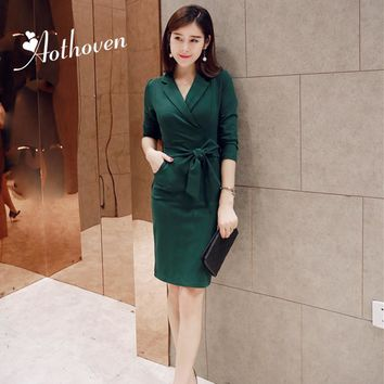 2018 Autumn Elegant OL Office Dresses Women Turn-down Collar Long Sleeve Dress Business Bandage Bodycon Midi Party Pencil Dress
