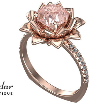 Morganite Engagement Ring,Unique Engagement Ring,Flower Engagement Ring,Lotus Engagement Ring Ring,Leaves Engagement Ring,Floral Engagement