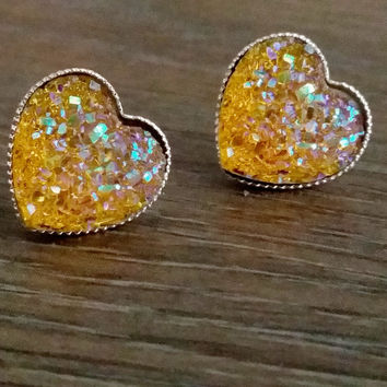 Druzy earrings- Yellow heart drusy silver tone stud druzy earrings