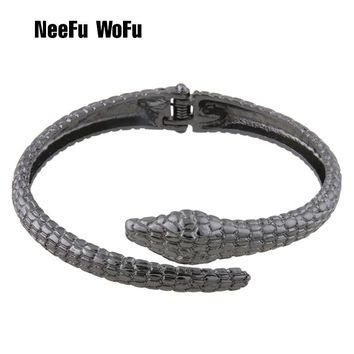 NeeFuWoFu Bracelets snake Zinc alloy Bracelet Bangles Woman Open Spring buckle Gradient Manual for National Charm Jewelry Gift