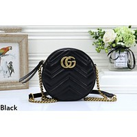 GUCCI tide brand female wave pattern round chain bag shoulder diagonal package Black
