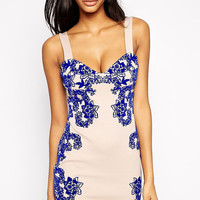Wide Strap Blue Floral Print Mini Dress with Low Cut Back