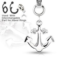 Add-On 316L Steel Anchor Dangle Charm for Navel Belly Button Ring, Dermal Anchors and More (Sold Ind.)