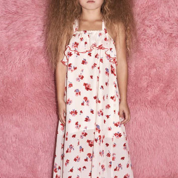 ALEXIS | Little Isa Long Dress - Ruffle Pink Floral