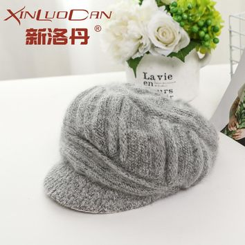 New Fashion Women Winter Hat Wool Mixed Rabbit Fur Warm Outdoor Knitted Beanies Hat Newsboy Cap Floral Skullies Baggy Headwear