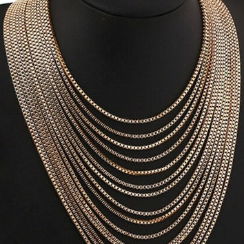 Golden Multi-Strand Box Chain Layered Necklace