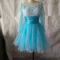 Boat Neck Long Sleeves White Appliques Blue Tulle Waistband Short Homecoming Dresses Sweet 16 Party Dress Cocktail Dress ET168