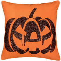 Pumpkin Sequins Orange Pillow 18 x 18-in,