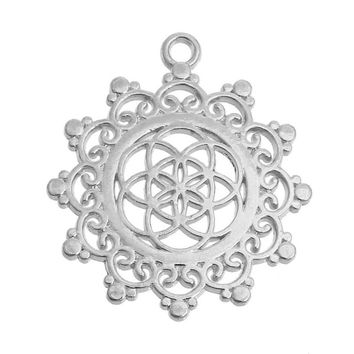 """DoreenBeads Alloy Seed Of Life Pendants Flower Gold Plated/Silver tone Hollow Carved 34mm(1 3/8"""") x 30mm(1 1/8""""), 5 PCs"""