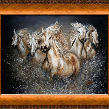 Wild Horses in Vintage Collection-Copper Frame - FREE US SHIPPING - The Symphony by Teshia