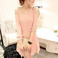 Graceful Beads Decorated Cutoff Shoulder Pleated Flouncing Dress 2 Colors