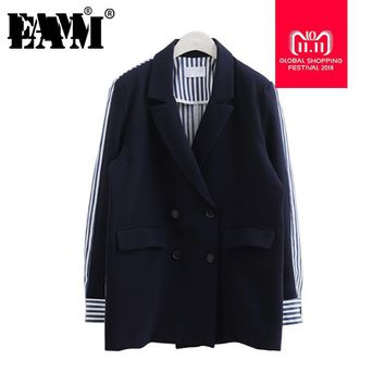 Trendy [EAM] 2018 AutumnWinter  Fashion Full Sleeve Striped Spliced Turn-down Collar Double Breasted New Jacket Women's Coat LA100 AT_94_13
