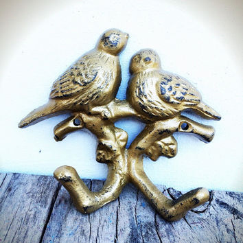 Hand Painted Love Birds Branch Wall Hook - Vintage Inspired Shabby Cottage Chic - Shimmering Antique Gold