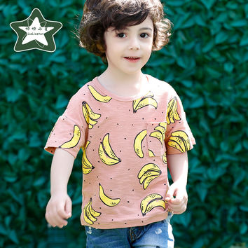 High Quality Children T Shirt For Boy 100% Cotton Print Banana Pattern Casual Clothes Baby Clothing Fashion Designer T-shirts