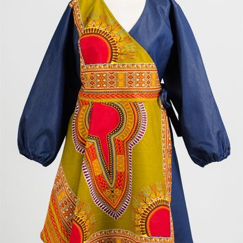 NF 203 Authentic African Print Wrap Dress
