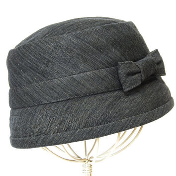 women's hat cloche grey denim, updated 1920's style