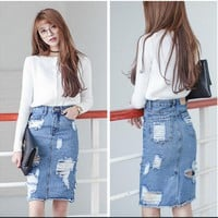 New Fashion Brand Designer Womens High Waisted Boyfriend Ripped Torn Hole Blue Denim Jeans Skirts