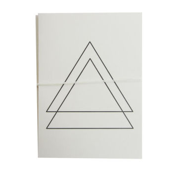 triangle note cards. modern stationery. black and white, tattoo, urban, simple. four blank cards and envelopes. vanilla cards and envelopes