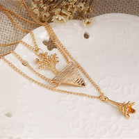 Multilayer Tree of Life Triangle Eiffel Tower Dainty Gold Chain Statement Necklace