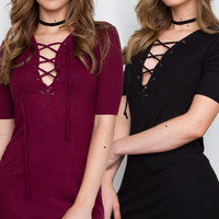 Stevie Lace Up Dress Set - Black & Maroon