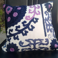 """Indian Handicraft Embroidered Cushion Covers Suzani Cushion Covers Christmas Gift Decorative Pillows Gift for him or her High Fashion 16"""""""
