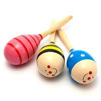1PC Colorful Baby Toys Wooden Maracas Ball Rattle Kids Toys
