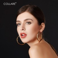 Collare Big Hoop Earrings For Women Stainless Steel Never Fade Gold Color Wedding Accessories Hoop Earrings Fashion Jewelry E410