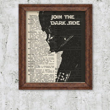 Darth Vader Movie poster Star Wars Print Art Vintage Book Page Darth Vader Star wars quote Join the dark side Dictionary art Wall Decor 8x10