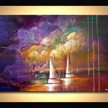"36"" Colorful Sail boats Painting Rain Original Contemporary modern Abstract Seascape Painting On Canvas by Osnat"