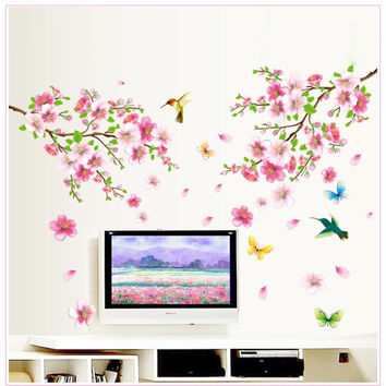 hot sell sakura flowers wall stickers tv background room decorations 9158. diy home decals removable mural art print posters 3.5