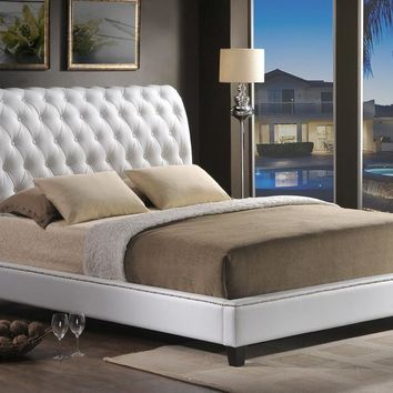 Baxton Studio Jazmin Tufted White Modern Bed with Upholstered Headboard - Queen Size Set of