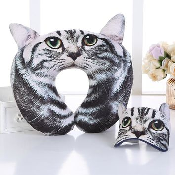 Cartoon Portable Neck Pillow with Eye Mask Pillow Eyelashes Eye Lash Cute Cat Neck Pillow for Sleeping Travel Office Airplane